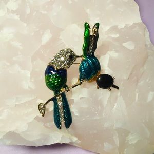 Enamel Crystal Cute Bird Flower Brooch Pin NWT
